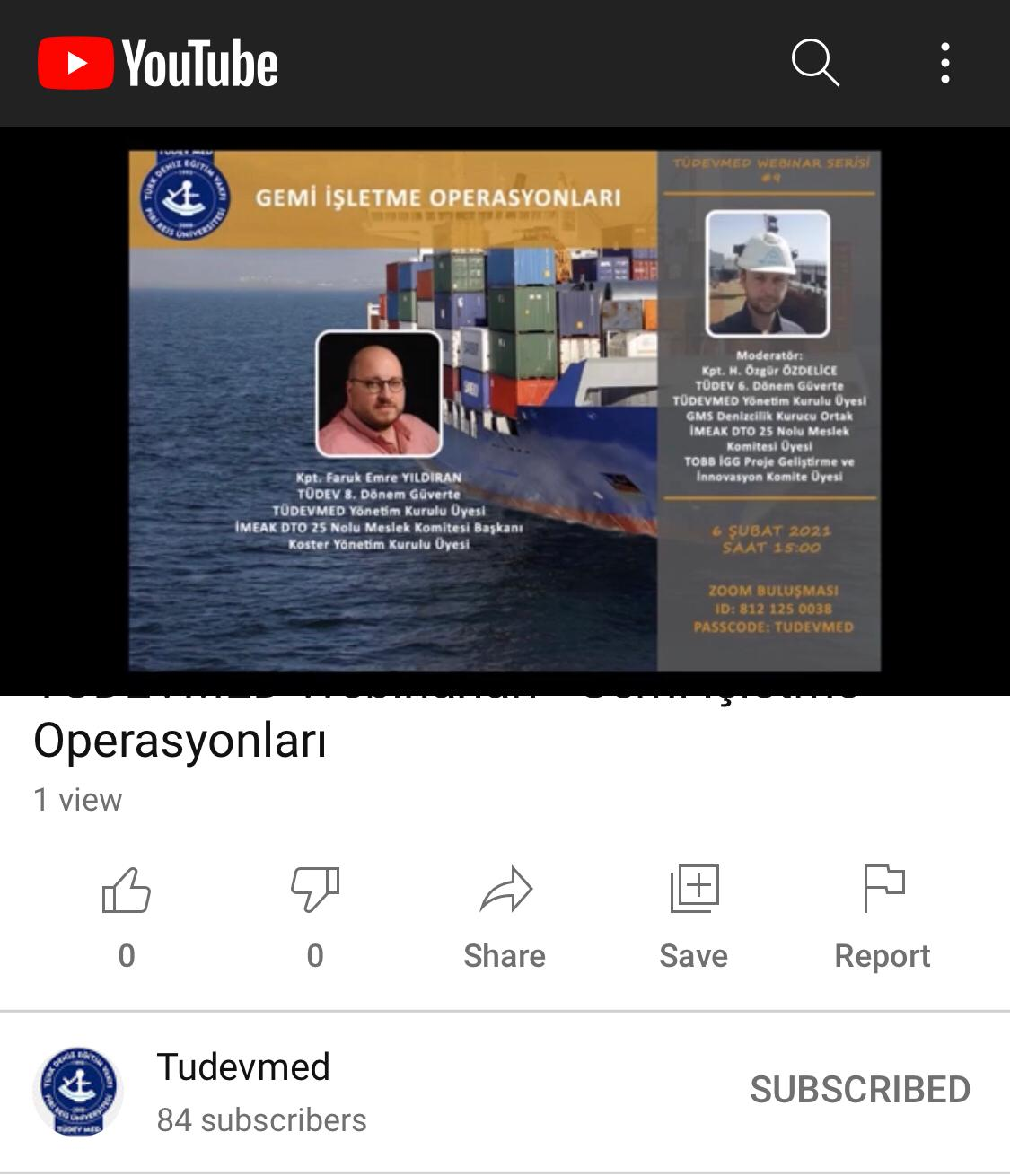 TÜDEVMED Gemi İşletme Operasyonları Webinarı Düzenledi